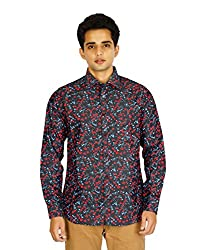 Montise Red Flowers Black Cotton Shirt For Men