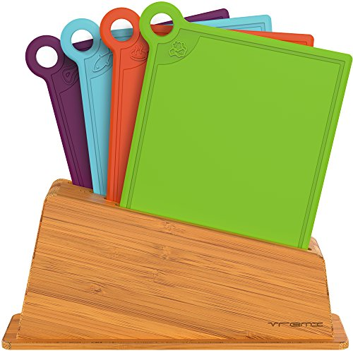 Vremi 5 Piece Cutting Board Set in Holder - Small Thin Dishwasher Safe Chopping Boards in BPA Free Plastic with Colorful Food Icons for Meat Fish and Vegetables with Bamboo Index Storage Stand (Microwave Stand With Glass Doors compare prices)