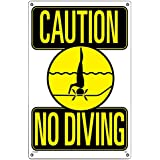 Poolmaster 40344 Caution No Diving Sign for Residential or Commercial Pools