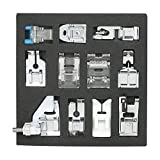 Presser Foot Set 11 PCS, Professional Domestic Sewing Machine Presser Feet Set Hem Foot Spare Parts Accessories Multi-Functional Kit for Singer Feiyue Janome Brother (11 Pack) (Color: Silver, Black, Tamaño: 11 PCS)