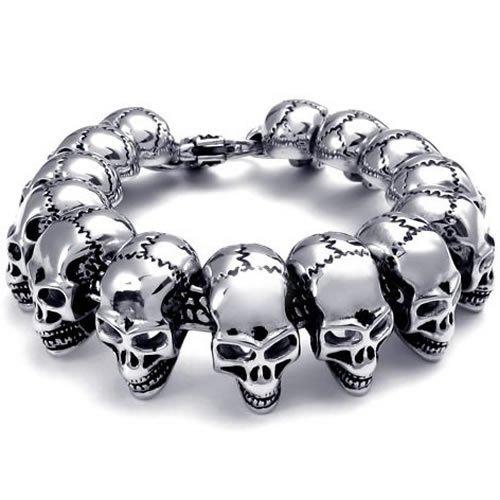 Konov Jewellery Heavy Large Stainless Steel Gothic Skull Biker Mens Bracelet, Colour Silver Black (with Gift Bag)