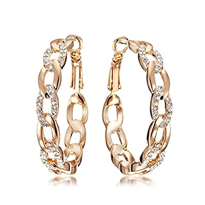 Gemini Women's Jewelry 18K Gold Filled CZ Diamond Hoop Pierced Earring for Women Valentine's Day Gift Idea Gm039Rg