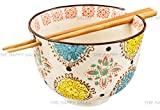 Happy Sales Ramen Udong Noodle Soup Cereal Bowl w/ Chopsticks (Henna)