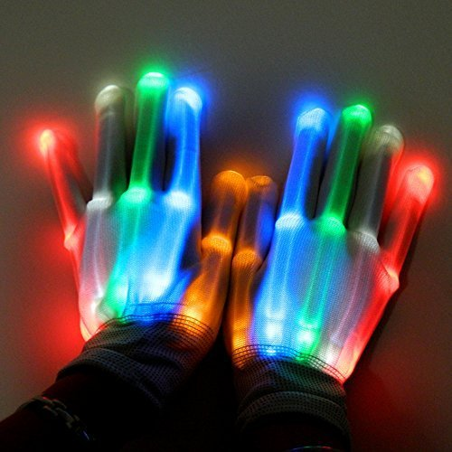 BonAchat Light up for Raves, 6 Modes Shining,Glow Skeleton Gloves-The Best Gloving & Lightshow Dancing Gloves for Clubbing, Rave, Birthday, EDM, Disco, and Dubstep Party