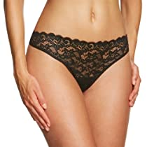 Hanro Womens Luxury Moments Thong Panty, Black, Small