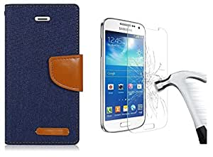 Online Street Premium Look Flip Cover And Tempered Glass For Samsung Galaxy J7- ( Navy Blue+ Tempered)