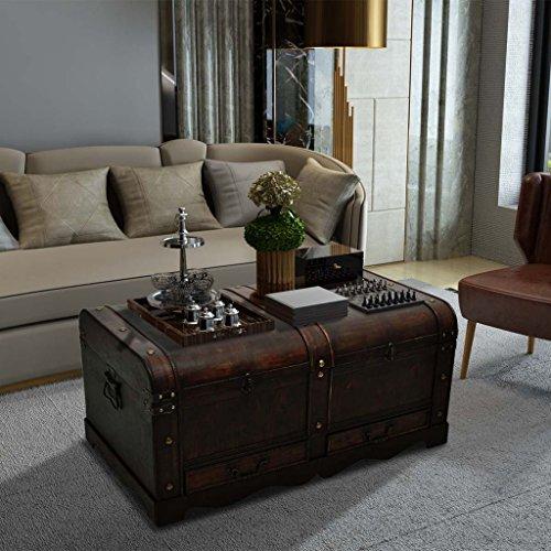 Large Wood Treasure Storage w/ Drawer Blanket Steamer Chest Vintage Coffee Table 6