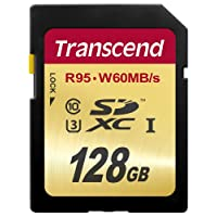 Transcend 128 GB High Speed 10 UHS-3 Flash Memory Card 95/60 MB/s (TS128GSDU3)