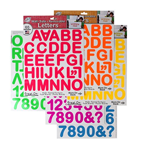 THE PEEL PEOPLE Wall-Safe Removable Letters & Numbers - Neon (390 Total Stickers) (Number Safe compare prices)