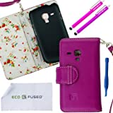 ECO-FUSED? Hot Pink Leather Wallet Case Cover For Samsung Galaxy S3 MINI I8190 (*S3 MINI ONLY*) With Blue Floral...