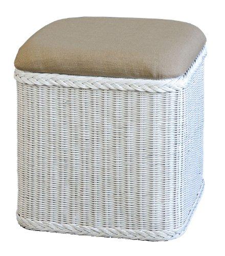 Rattan Wäschekorb / Wäschetruhe mit gepolsterten Sitz in der Farbe Weiss - Versandkostenfrei in DE, Großer heller Wäschesammler/Sitztruhe aus Natur-Rattan auch perfekt als Badhocker/Sitzhocker
