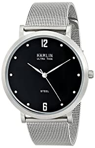 Hamlin Men's HAMM0336:001/04E92GG Ultra Thin Black Shiny Dial Vertical Brushed Case Mesh Band Watch