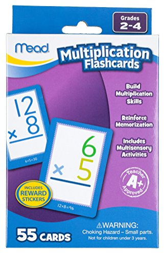 Mead 63024 Multiplication Flashcards, 55 Cards, Grades 2-4