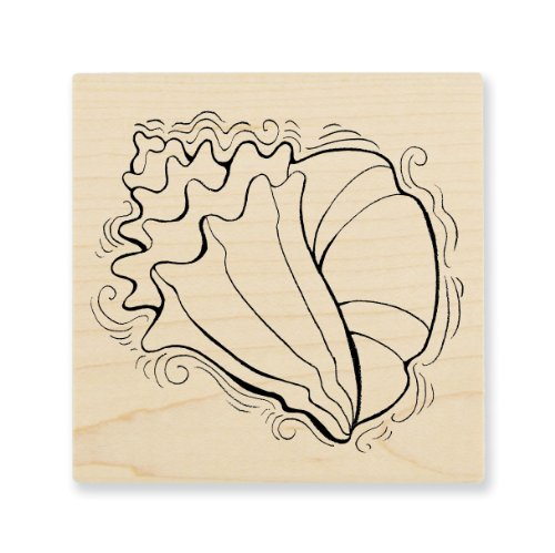 "Stampendous Wooden Handle Rubber Stamp, ""Pen Pattern Conch"""