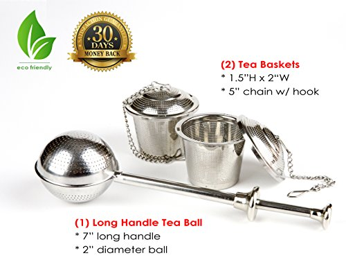 UEndure Tea Infusers, Tea Strainers and a Long Handle Tea Ball, Loose Leaf Tea Infuser from UEndure