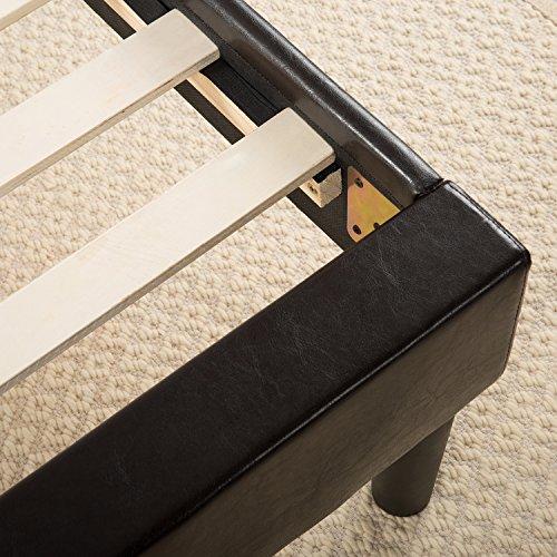 essential faux leather upholstered platform bed frame mattress foundation no boxspring. Black Bedroom Furniture Sets. Home Design Ideas
