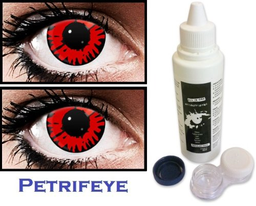 Red Wolf Non Prescription (2 lenses in pack) Fashion Halloween Contact Lenses By Petrifeye Eyes With Free 120ml Solution And Blue/White Soaking Case