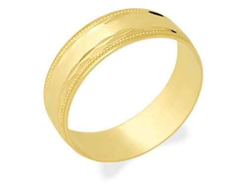 F.Hinds Mens Jewellery Jewelry 9ct Gold Beaded Edge Grooms Wedding Ring - 7mm