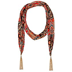 D EXCEED Women's Chiffon Vintage Floral Scarf with Tassel Jewelry Necklace Scarfs (Gold Tassel)