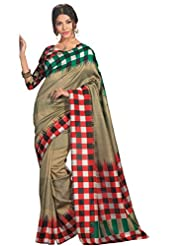 Abida Printed Multi Color Bhagalpuri Art Silk Saree - B00VG60BPG
