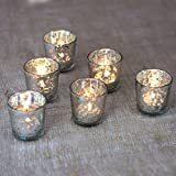 Luna Bazaar Candle Holders (2.5-Inch, Liquid Motif, Silver Mercury Glass, Set of 6) - For Home Decor and Wedding Decorations - For Use with Tea Light Candles