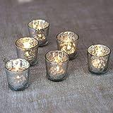 Luna Bazaar Liquid Motif Mercury Glass Tea Light Candle Holders (2.5-Inch, Silver, Set of 6)