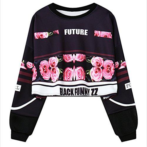 damen-casual-blume-gedruckt-langarm-crop-top-sweatshirt-schwarz-tops