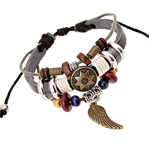 [Bluegrass Charm Angel Wing and Unique Totem of The Sun Multistrand Leather Braided Hand-knitted] (Indian Beaded Bracelet)