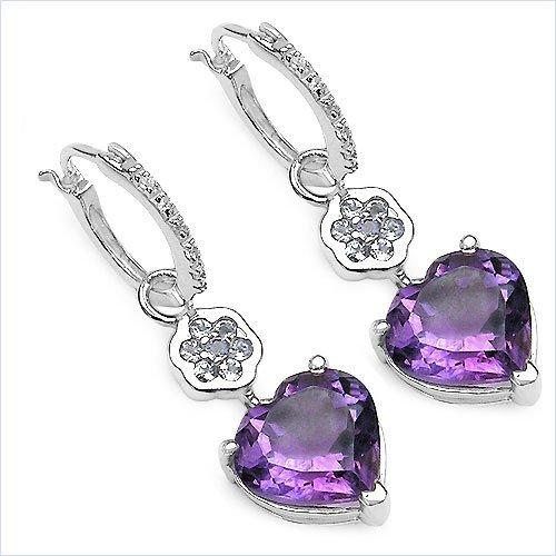 Jewelry-Schmidt-Earrings Tanzanite / Amethyst / White Topaz 6.46 carats