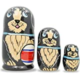 """5"""" Set Of 3 Black Dog With Ball And Bow Wooden Matryoshka Russian Nesting Dolls"""