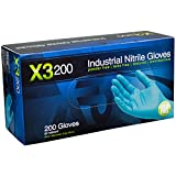 Ammex X3D Xtreme Blue Nitrile Glove, Latex Free, Disposable, Powder Free, Small (Box of 200)