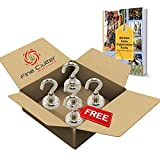 MIGHTY MAGNETIC HOOKS- The ONLY 35lb Heavy Duty Neodymium magnetic hook with a FREE Hook and an eBook- Multiuse for organizing Indoor/Outdoor.