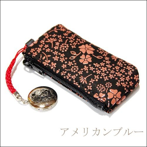 印傳屋 印伝 メンズ / レディース 印鑑ケース (印鑑入れ) 4304 黒×ピンク  2本入る ファスナータイプ 日本製 ( 国産 ) (アメリカンブルー)