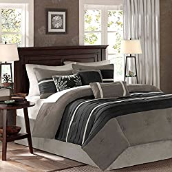 Madison Park Palmer 7 Piece Comforter Set, King, Black/Grey