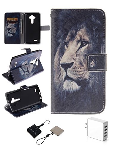 Click to buy LG G3 Wallet Case , Castle Cas [Lion] Duplex Design Flip Card Slot Slim Fit Magnetic Premium Polyurethane Leather TPU Cover Case With 4 - Ports Rapid USB US Wall Charger - Black - From only $56
