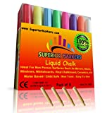 SUPERIOR CHALK PENS: Versatile Chalk Markers each with a Reversible Tip PLUS FOR FREE 4 Extra Tips As A Bonus~Great for Signs, Mirrors, Glass and Chalkboard Vinyl~These Liquid Chalk Ink Markers are Dust Free and Non Toxic~100% Satisfaction Guarantee!!