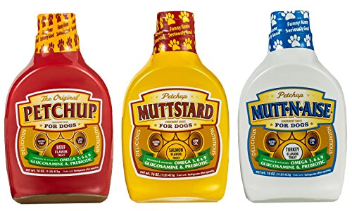 Petchup Nutritional Condiment Variety Pack- Petchup (Beef), Muttstard (Salmon), Mutt-n-aise (Turkey) - Pack of 3 Bottles