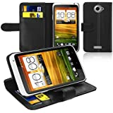 Schwarz Leder Brief Tasche Schutz H�lle Case Schale Etui f�r HTC ONE X