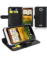 Housse coque etui protection Noir porte cartes Cuir pratique pour HTC ONE X