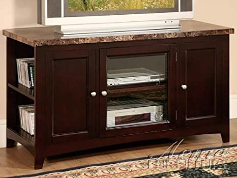 Finely collection espresso finish wood with faux brown marble top TV stand entertainment center with glass front center cabinet