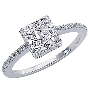 1.1 Carat GIA Certified Cushion Cut / Shape Square Halo Style Single Row Diamond Engagement Ring ( I Color , VS1 Clarity )