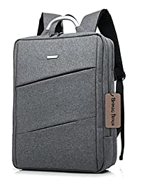 Bronze Times (TM) 14 inch Premium Water Resistant Canvas Laptop Briefcase Travel Backpack (C-Grey)