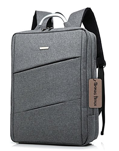 Bronze Times (TM) 15.6 inch Premium Water Resistant Canvas Laptop Briefcase Travel Backpack (C-Grey)