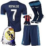 KID BOX® 2015/2016 #7 Away Blue Soccer Football Jersey Sportswear Team Polo Shirt & Short & Sock & Key Chain & Soccer Bag FOR Kids 3-14 Years (11-12 YEARS)