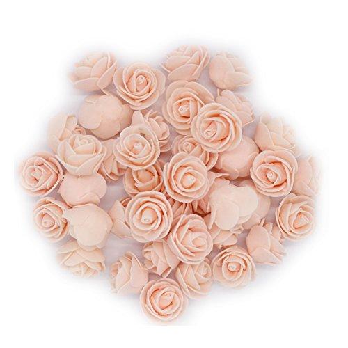 OYang 100PCs 3CM Pêche Artificielle Rose Fleurs à la Main Belle Mariage Maison Soirée Décoration et Décoratif de Cheveaux