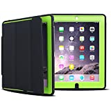 iPad Case, HAOCOO Extreme Heavy Duty Full Body Rugged Hybrid Protective PU Leather Smart Case Magnetic Cover with Sleep / Wake feature for Apple iPad 2/iPad 3/iPad 4 (Green with Black)