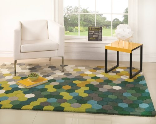 Green Funky Geometric Pattern Ultra Modern Thick Quality Area Rugs 3 Sizes- Dynamic