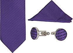 Clareo Men's Herringbone Tie Set - Combo Pack of 3 (Purple)