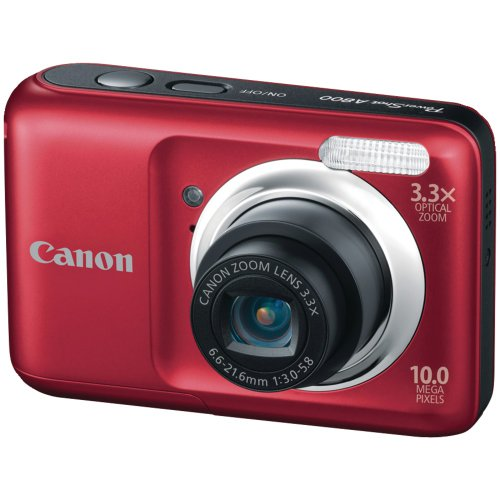 Canon Powershot A800 10 MP Digital Camera with 3.3x Optical Zoom (Red)