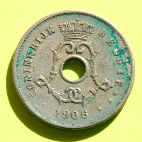 Belgium (Belgie Or Belgique) 1906 5 Centimes Coin Dutch Legend Léopold Ii